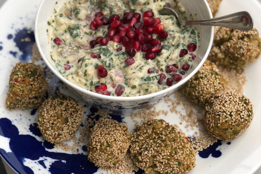 Falafel and Aubergine dip